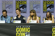 "Nathaniel Halpern, Dan Stevens, .Rachel Keller, and Aubrey Plaza speak onstage at the ""Legion"" discussion and Q&A during Comic-Con International 2018 at San Diego Convention Center on July 22, 2018 in San Diego, California."