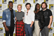 David Ajala, Gretchen Mol, Eoin Macken, Jodie Turner-Smith, and Angus Sampson attend SYFY'S 'Nightflyers' Press line during Comic-Con International 2018 at Hilton Bayfront on July 19, 2018 in San Diego, California.
