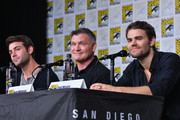 (L-R) James Wolk, Kevin Williamson and Paul Wesley speak onstage at the Tell Me a Story panel during Comic-Con International 2018 at San Diego Convention Center on July 19, 2018 in San Diego, California.