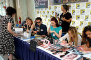 "(L-R) Sherilyn Fenn, John Pirruccello, Nicole LaLiberte, George Griffith, Chrysta Bell, and Amy Shiels attend ""Twin Peaks"" autograph signings and fan events during  Comic-Con International 2018 at San Diego Convention Center on July 20, 2018 in San Diego, California."
