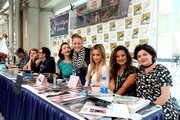 "(L-R) John Pirruccello, Nicole LaLiberte, George Griffith, Chrysta Bell, Adele Rene, Amy Shiels, and Sherilyn Fenn attend ""Twin Peaks"" autograph signings and fan events during  Comic-Con International 2018 at San Diego Convention Center on July 20, 2018 in San Diego, California."