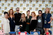 "(L-R) Sherilyn Fenn, Adele Rene, Harry Goaz, Amy Shiels, Chrysta Bell, Nicole LaLiberte, George Griffith, and Kimmy Robertson attend ""Twin Peaks"" autograph signings and fan events during  Comic-Con International 2018 at San Diego Convention Center on July 21, 2018 in San Diego, California."