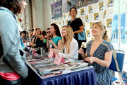 "(L-R) Nicole LaLiberte, George Griffith, Chrysta Bell, Amy Shiels, and Mädchen Amick attend ""Twin Peaks"" autograph signings and fan events during  Comic-Con International 2018 at San Diego Convention Center on July 20, 2018 in San Diego, California."