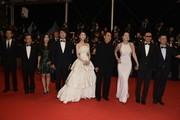 "(5th L-R) Zhang Huiwen,Zhang Yimou, Gong Li, Chen Daoming and Zhang Zhao attend the ""Gui Lai"" premiere during the 67th Annual Cannes Film Festival on May 20, 2014 in Cannes, France."
