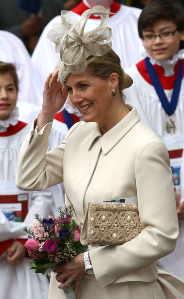 Sophie Countess of Wessex departs after attending the Commonwealth day observance service at Westminster Abbey on March 10, 2014 in London, England.