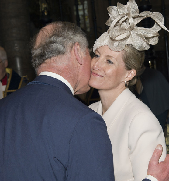 Prince Charles, Prince of Wales greets Sophie, Countess of Wessex as they attend the Commonwealth day observance service at Westminster Abbey on March 10, 2014 in London, England.