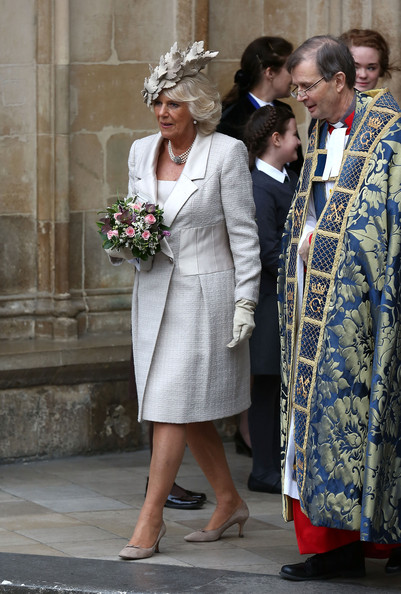 Camilla, Duchess of Cornwall departs after attending the Commonwealth day observance service at Westminster Abbey on March 10, 2014 in London, England.
