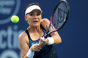 Agnieszka Radwanska of Poland returns a shot to Petra Kvitova of Czech Republic during Day 1 of the Connecticut Open at Connecticut Tennis Center at Yale on August 20, 2018 in New Haven, Connecticut.