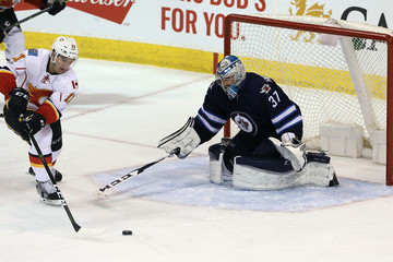 Connor Hellebuyck Calgary Flames v Winnipeg Jets