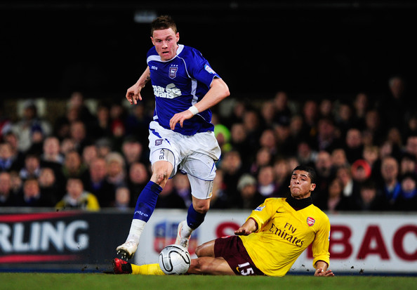 Connor Wickham Connor Wickham of Ipswich Town is challenged by Denilson of Arsenal during the Carling Cup Semi Final First Leg match between Ipswich Town and Arsenal at Portman Road on January 12, 2011 in Ipswich, England.