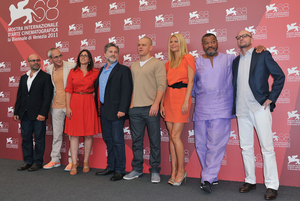 "(L-R) Writer Scott Z. Burns, producers Michael Shamberg, Stacey Sher and Gregory Jacobs and actors Matt Damon, Gwyneth Paltrow, Laurence Fishburne and director Steven Soderbergh pose at the ""Contagion"" photocall during the 68th Venice Film Festival at the Palazzo del Cinema on September 3, 2011 in Venice, Italy."