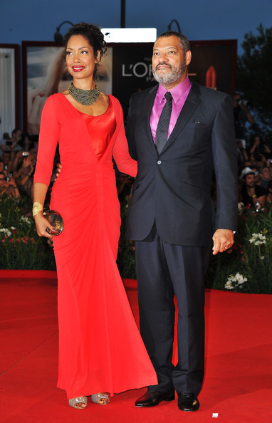 "Actor Laurence Fishburne and Gina Torres attends the ""Contagion"" premiere during the 68th Venice Film Festival at Palazzo del Cinema on September 3, 2011 in Venice, Italy."