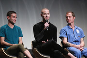 """Color guard members Brian Rosa and Christian Orr and director Turner Ross speak onstage at the """"Contemporary Color"""" Premiere during the 2016 Tribeca Film Festival at BMCC John Zuccotti Theater on April 14, 2016 in New York City."""