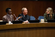 (L-R) Lupita Nyong'o, Michael Kors and Cleo Wade attend In Conversation with Michael Kors, Lupita Nyong'o, and the World Food Programme at United Nations Headquarters on October 21, 2019 in New York City.