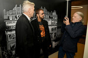 """(L-R) David Lynch, Ringo Starr, and Henry Diltz pose backstage during the In Conversation Panel for 'Another Day In The Life"""" with Ringo Starr, David Lynch and Henry Diltz at Saban Theatre on October 29, 2019 in Beverly Hills, California."""
