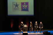 (L-R) Brad Tolinski, Ringo Starr, David Lynch, and Henry Diltz speak onstage during the In Conversation Panel for 'Another Day In The Life' with Ringo Starr, David Lynch and Henry Diltz at Saban Theatre on October 29, 2019 in Beverly Hills, California.