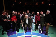 English filmmaker Ken Loach (4th L), Jamelia (6th L) Labour leader Jeremy Corbyn, (C) Labour's Shadow Minister of State for Women and Equalities Dawn Butler (4th R) Labour Party Shadow Chancellor of the Exchequer John McDonnell (3rd R) and Billy Bragg (R) attend the launch of Labour's new charter for the arts at the theatre Royal Stratford East on November 24, 2019 in London, England. Corbyn was joined by music, film and theatre stars to help launch Labour's £1bn 'Arts for All' policy charter.