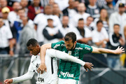 Jo (L) of Corinthians and Edu Dracena of Palmeiras in action during the match between Corinthians and Palmeiras for the Brasileirao Series A 2017 at Arena Corinthians Stadium on November 05, 2017 in Sao Paulo, Brazil.