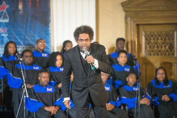 Cornel West Democratic Presidential Candidate Bernie Sanders Attends Rainbow PUSH Coalition Weekly Forum