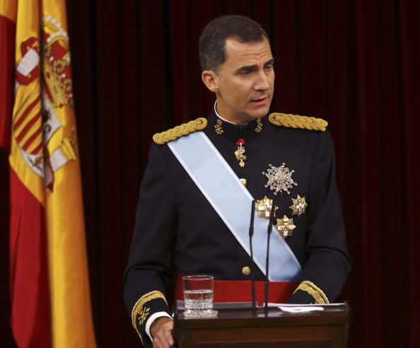 King Felipe VI of Spain at the Congress of Deputies gives his first speech to make his proclamation as King of Spain to the Spanish Parliament on June 19, 2014 in Madrid, Spain. The coronation of King Felipe VI is held in Madrid. His father, the former King Juan Carlos of Spain abdicated on June 2nd after a 39 year reign. The new King is joined by his wife Queen Letizia of Spain.