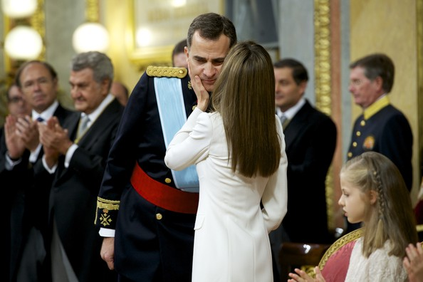 King Felipe VI of Spain (L) attends along side Queen Letizia of Spain during his inauguration at the Parliament (Congreso de los Diputados) on June 19, 2014 in Madrid, Spain. The coronation of King Felipe VI is held in Madrid. His father, the former King Juan Carlos of Spain abdicated on June 2nd after a 39 year reign. The new King is joined by his wife Queen Letizia of Spain