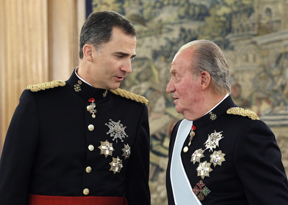 King Felipe VI of Spain and King Juan Carlos attend a ceremony in the Hearing Room of Zarzuela Palace prior to the King's official coronation ceremony on June 19, 2014 in Madrid, Spain. The coronation of King Felipe VI is held in Madrid. His father, the former King Juan Carlos of Spain abdicated on June 2nd after a 39 year reign. The new King is joined by his wife Queen Letizia of Spain.