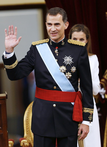 (LtoR) King Felipe VI of Spain at the Congress of Deputies during his first speech to make his proclamation as King of Spain to the Spanish Parliament on June 19, 2014 in Madrid, Spain. The coronation of King Felipe VI is held in Madrid. His father, the former King Juan Carlos of Spain abdicated on June 2nd after a 39 year reign. The new King is joined by his wife Queen Letizia of Spain.