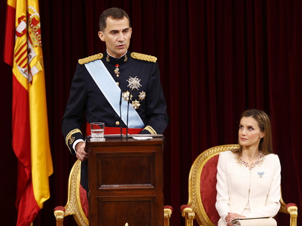 (LtoR) King Felipe VI of Spain and Queen Letizia of Spain at the Congress of Deputies during his first speech to make his proclamation as King of Spain to the Spanish Parliament on June 19, 2014 in Madrid, Spain. The coronation of King Felipe VI is held in Madrid. His father, the former King Juan Carlos of Spain abdicated on June 2nd after a 39 year reign. The new King is joined by his wife Queen Letizia of Spain.