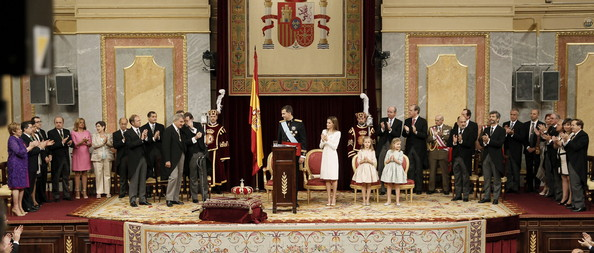 King Felipe VI of Spain is applauded at the Congress of Deputies after his first speech to make his proclamation as King of Spain to the Spanish Parliament. on June 19, 2014 in Madrid, Spain. The coronation of King Felipe VI is held in Madrid. His father, the former King Juan Carlos of Spain abdicated on June 2nd after a 39 year reign. The new King is joined by his wife Queen Letizia of Spain.