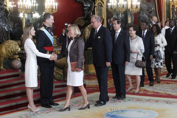 King Felipe VI of Spain and Queen Letizia of Spain attend a reception at the Royal Palace after the King's official coronation at the parliament on June 19 on June 19, 2014 in Madrid, Spain.