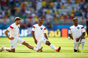 (L-R) Steven Gerrard, Raheem Sterling and Glen Johnson of England stretch prior to the 2014 FIFA World Cup Brazil Group D match between Costa Rica and England at Estadio Mineirao on June 24, 2014 in Belo Horizonte, Brazil.