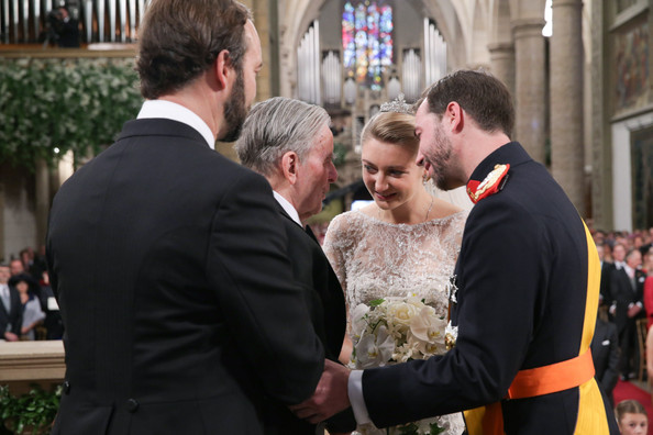 The Wedding Of Prince Guillaume Of Luxembourg & Stephanie de Lannoy - Official Ceremony [photograph,event,ceremony,interaction,tradition,wedding,dress,wedding dress,marriage,gesture,guillaume of luxembourg stephanie de lannoy - official ceremony,stephanie,count de philippe lannoy,prince,count christian de lannoy,belgian countess,sales,handout image,luxembourg,wedding]
