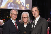 CMHOF's Kyle Young, Ricky Skaggs and CMHOF's Peter Cooper attend the 2018 Country Music Hall of Fame and Museum Medallion Ceremony honoring inductees Johnny Gimble, Ricky Skaggs and Dottie West at Country Music Hall of Fame and Museum on October 21, 2018 in Nashville, Tennessee.