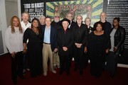 """Nashville Cats Charlie Daniels, Wayne Moss, Norbert Putnam, David Briggs and Charlie McCoy along with CMA's Kyle Young, and Ann, Regina, Deborah and Alfreda McCrary attend the debut of """"Dylan, Cash and The Nashville Cats"""" exhibition at Country Music Hall of Fame and Museum on March 26, 2015 in Nashville, Tennessee."""