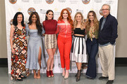 Leslie Fram, Mickey Guyton, Hannah Ellis, Caylee Hammack, Rachel Wammack, Lainey Wilson and Kyle Young visit the Country Music Hall of Fame and Museum on June 07, 2019 in Nashville, Tennessee.
