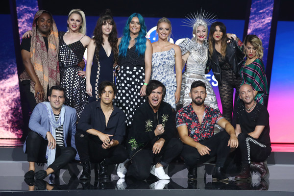 Eurovision - Australia Decides Media Call [performance,event,social group,fashion,fashion design,team,talent show,performing arts,stage,competition,ella hooper,mark vincent,michael ross,alfie arcuri,sheppard,media call,leea nanos,zaachariaha fielding,gold coast convention and exhibition centre,eurovision - australia]
