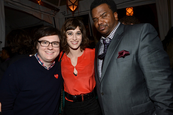 The Entertainment Weekly Pre-SAG Party Hosted By Essie And Audi - Inside [red,event,fashion,suit,fun,formal wear,smile,party,night,flash photography,essie,lizzy caplan,craig robinson,clark duke,audi - inside,l-r,chateau marmont,los angeles,california,entertainment weekly pre-sag party]