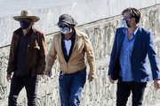 (L-R) director Julien Temple, actor Johnny Depp and producer Stephen Deuters attend 'Crock of Gold: A Few Rounds With Shane Macgowan' photocall during the 68th San Sebastian International Film Festival at the Kursaal Palace on September 20, 2020 in San Sebastian, Spain.