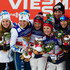 Ida Ingemarsdotter Stina Nilsson Photos - Gold medallists Ingvild Flugstad Oestberg and Maiken Caspersen Falla of Norway stand on the podium with silver medallists Ida Ingemarsdotter and Stina Nilsson of Sweden and bronze medallists Justyna Kowalczyk and Sylwia Jaskowiec of Poland after the Women's Cross-Country Team Sprint Final during the FIS Nordic World Ski Championships at the Lugnet venue on February 22, 2015 in Falun, Sweden. - Cross Country: Men's & Women's Team Sprint - FIS Nordic World Ski Championships