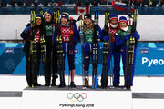 (L-R) Silver medalists Stina Nilsson and Charlotte Kalla of Sweden, gold medalists Kikkan Randall and Jessica Diggins of the United States and bronze medalists Marit Bjoergen and Maiken Caspersen Falla of Norway celebrate on the podium during the victory ceremony for the Cross Country Ladies' Team Sprint Free on day 12 of the PyeongChang 2018 Winter Olympic Games at Alpensia Cross-Country Centre on February 21, 2018 in Pyeongchang-gun, South Korea.