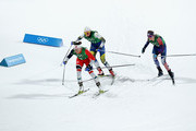 Maiken Caspersen Falla of Norway (1-2), Stina Nilsson of Sweden and Jessica Diggins of the United States compete during the Cross Country Ladies' Team Sprint Free Final on day 12 of the PyeongChang 2018 Winter Olympic Games at Alpensia Cross-Country Centre on February 21, 2018 in Pyeongchang-gun, South Korea.