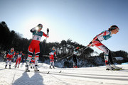 Teresa Stadlober of Austria (4) and Marit Bjoergen of Norway (8) compete during the Ladies' 30km Mass Start Classic on day sixteen of the PyeongChang 2018 Winter Olympic Games at Alpensia Cross-Country Centre on February 25, 2018 in Pyeongchang-gun, South Korea.