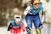 Stina Nilsson of Sweden reacts after crossing the finish line during the Ladies' 30km Mass Start Classic on day sixteen of the PyeongChang 2018 Winter Olympic Games at Alpensia Cross-Country Centre on February 25, 2018 in Pyeongchang-gun, South Korea.