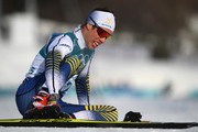 Marcus Hellner of Sweden reacts after finishing during the Cross-Country Skiing Men's 15km Free at Alpensia Cross-Country Centre on February 16, 2018 in Pyeongchang-gun, South Korea.