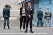 Prince Frederik of Denmark and Crown Princess Mary of Denmark visit at the border village of panmunjom between South and North Korea in the demilitarized zone (DMZ) on May 13, 2012, South Korea.