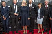 Crown Prince Haakon  of Norway and Crown Princess Mette-Marit of Norway stand to gether with Germans Foreign Minister Heiko Maas, the director of the Buchmesse, Juergen Boos, Ursula Bouffier, the Prime Minister of Hesse Volker Bouffier (L-R) and others before the opening ceremony of the Frankfurt Book Fair 2019 on October 15, 2019 in Frankfurt am Main, Germany.