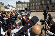 The Royal Life Guard is marching on the Amalienborg Palace Square prior to Crown prince Frederik and family appear on the balcony of the residence at Amalienborg on the occasion of his 50th birthday on May 26, 2018 in Copenhagen, Denmark. Later during the evening the Crown Prince host a Gala Banquet at Christiansborg