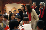Crown Princess Mary of Denmark (3rd ffrom right) interacts with South Korean children at the exhibition 'H.C. Andersen and Copenhagen', which is co-hosted by Seoul Museum of History and Odense City Museum, on May 21, 2019 in Seoul, South Korea. Crown Prince and Princess of Denmark are visiting South Korea to celebrate the 60th anniversary of the establishment of diplomatic ties between the two countries.