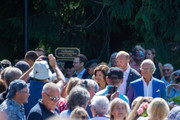 Queen Sylvia and King Carl Gustav of Sweden greet the crowd at The Crown Princess Victoria of Sweden's 42nd birthday celebrations on July 14, 2019 at Solliden Palace in Borgholm, Oland, Sweden.