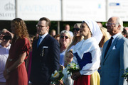 Hanna Öberg, Prince Daniel of Sweden, Princess Estelle of Sweden, Crown Princess Victoria of Sweden and King Carl Gustaf of Sweden are seen on the occasion of The Crown Princess Victoria of Sweden's 42nd birthday celebrations on July 14, 2019 in Oland, Sweden.